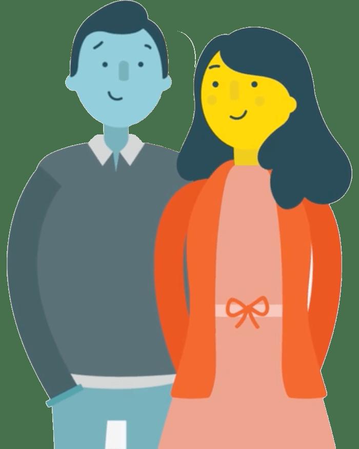 Adoptive mother and father cartoon