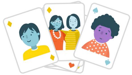 Prospective adoptive parents playing cards cartoon