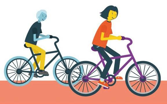 Post-adoption family on bikes cartoon