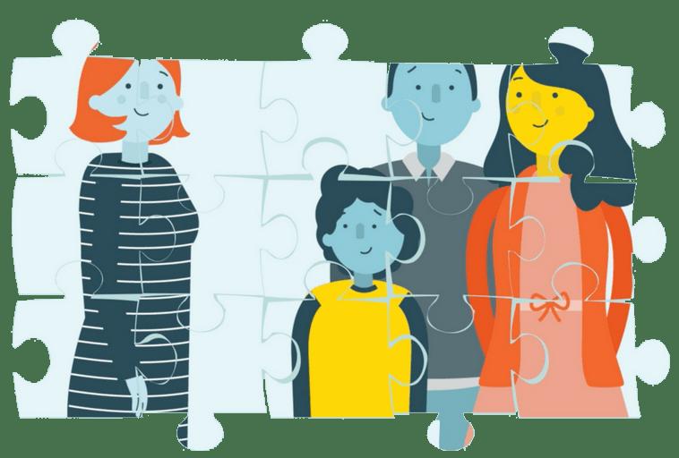 Post-adoption family jigsaw cartoon