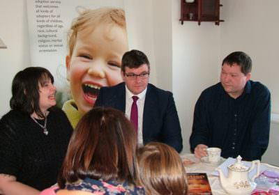 Andy Sawford MP with adopters
