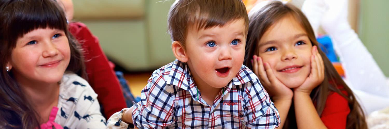 Post-adoption children being entertained
