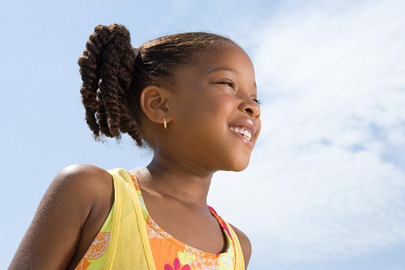 Adopted BME girl enjoying the sunshine